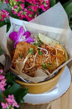 Crispy Pad Thai w/ wontons, chicken, tamarind, bean sprouts, peanuts