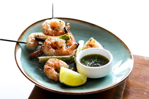 Grilled Shrimp w/ poblano peppers, cilantro, nahm jim talay sauce