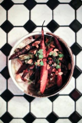 Roasted Organic Carrots – tzatziki, toasted almonds, mint, zest of lemon