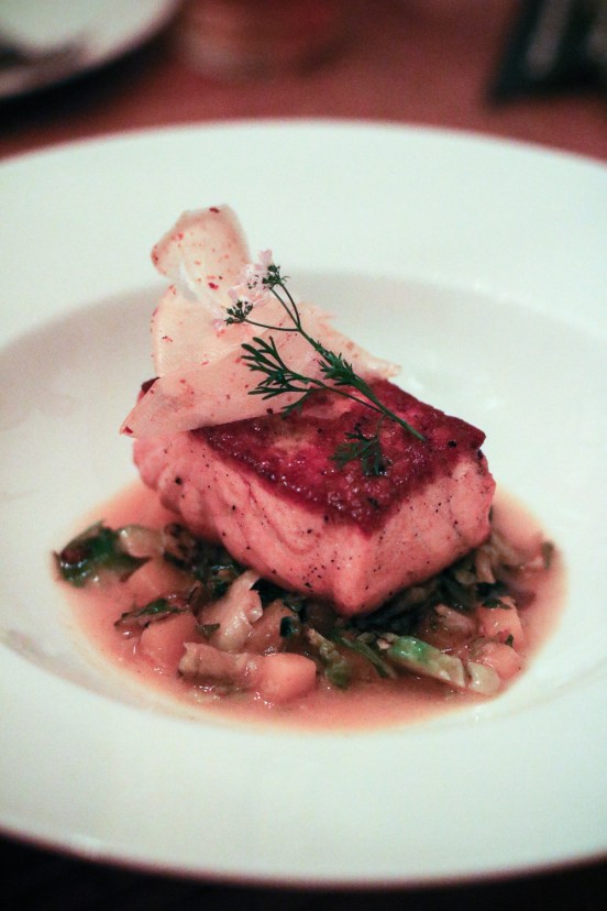 Scottish Salmon – brussel sprouts, a light curry sauce, yucca crisps