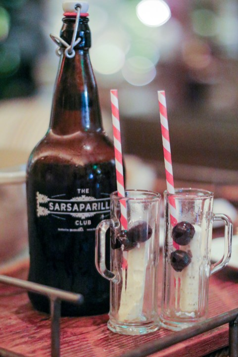 Sarsaparilla Float with toffee ice cream & filthy cherries