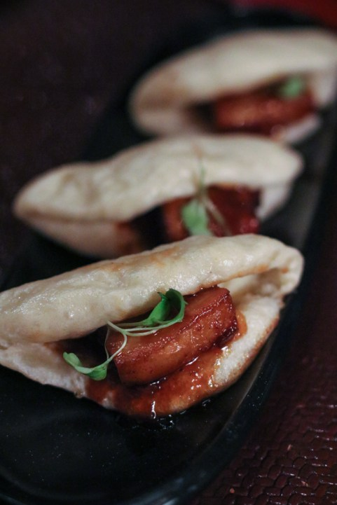 Pork Belly Bao with Grilled Peach, Cilantro, Chinese Barbecue Sauce