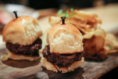 Beef Deckle Sliders topped with roasted maitake mushrooms, Russian dressing