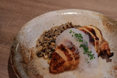 Pan Seared Chicken Breast with toasted grains, chives and mascarpone