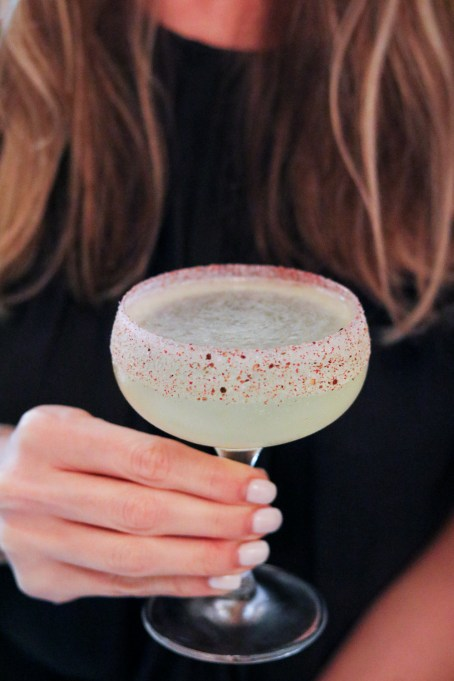 Damned & Beautiful – Champagne. St George Vodka, Blackberry Gastric, Pink Peppercorn Sugar Rim