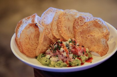 Spicy Tuna Tartare with Hand Cut Ahi Tuna, Avocado, Cucumber, Cilantro, Spicy Mayo and served with plenty of Malanga Chips