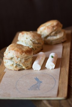 Buttermilk Chive Biscuits w/ Honey Butter & Bacon Butter