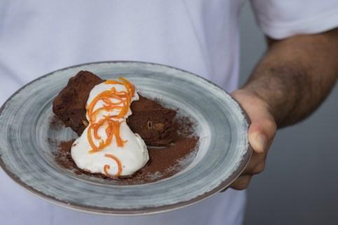 Mexican Chocolate Cake w/ spiced chocolate cake, whipped crema fresca