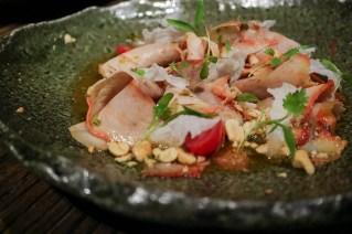 THAI YUM - bbq pork, dry shrimp, crushed tomatoes, kaffir leaves, aji limo pepper, basil, peanuts, sesame oil