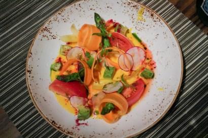 VEGETABLE - sunchoke leche de tigre, aji amarillo, avocado, radishes, white asparagus, heirloom cherry tomatoes, carrots
