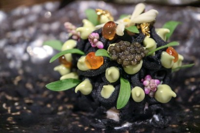 FLOR - black causa, maine lobster tartare, caviar, gold, avocado
