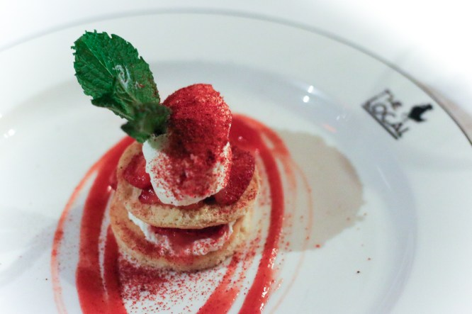 Shortcake with Bourbon Syllabub & Strawberry Powder