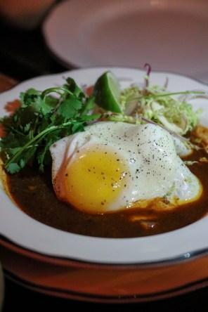 Posole Rojo w/ pork belly & fried egg