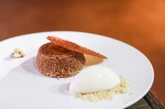 Liquid Dulce De Leche Cake w/ Butter Crumbs, Sugar Tuile & Sweet Cream Ice Cream
