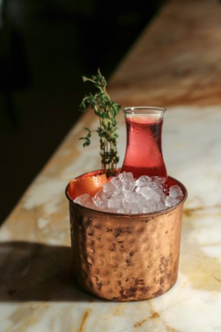 Another 50/50 w/ Absolut Elyx, Blueberry-Thyme Infused Dolin Blanc & Grapefruit Bitters