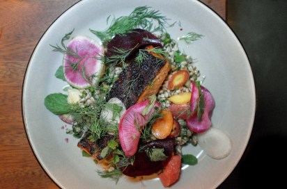 Coral Roasted Salmon with Florida grapefruit, pickled beets and farro salad