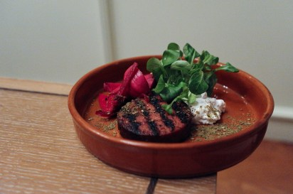 Spiced Lamb Sausage W/ Sesame Yoghurt, Marinated Turnips