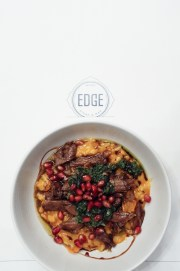 Carrot And Lamb Risotto W/ Slow Cooked Lamb Neck, Hazelnuts, Pomegranate Salsa Verde