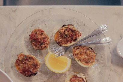 Clams Casino w/ piquillo, bacon, bread crumbs