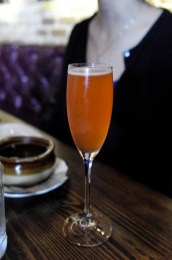 Ezra Scarlet with Awn No Kaori Sudachi Shochu infused with Strawberries, Lemon & topped with Cava