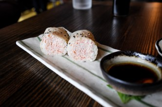 Snow Crab with goma soy paper, warm snowcrab, ponzu, claried butter