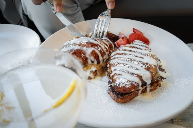 Croissant French Toast with banana foster and cream cheese glaze