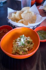 Guacamole served with freshly made tortilla chips