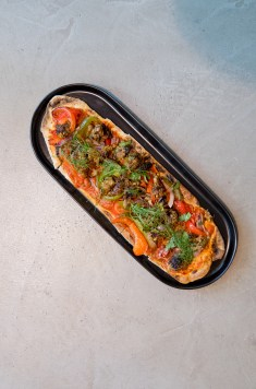"""Sausage"" and Pepper Flatbread"