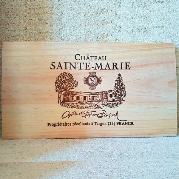 estampes caisse bois vin château Sainte-Marie