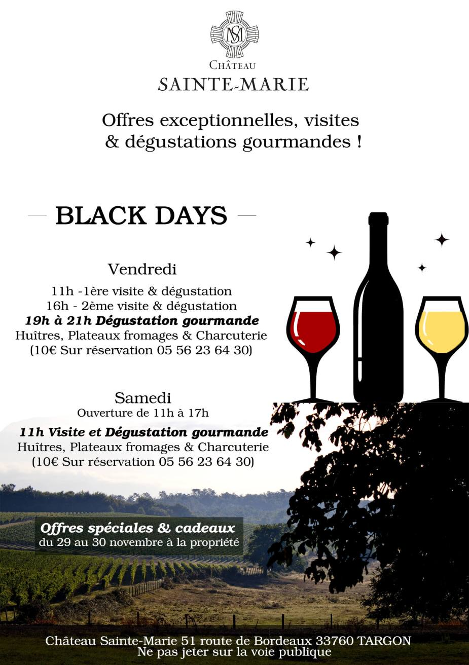 Black days du Château Sainte-Marie BLACK FRIDAY