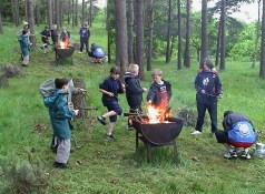 Scouts cooking at camp