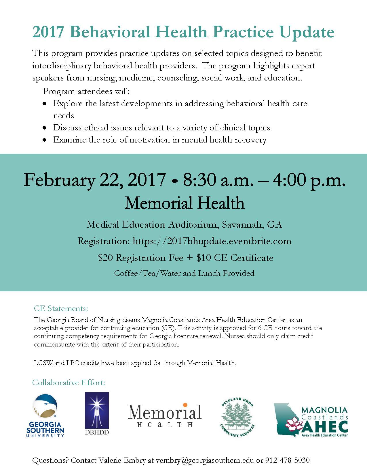 2017 Behavioral Health Practice Update Conference Chatham County