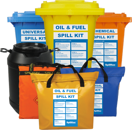 SpilMax Spill Kits in bins, bags and drums