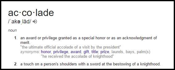 Learn Accolade Meaning, Definition, Synonyms and Usage