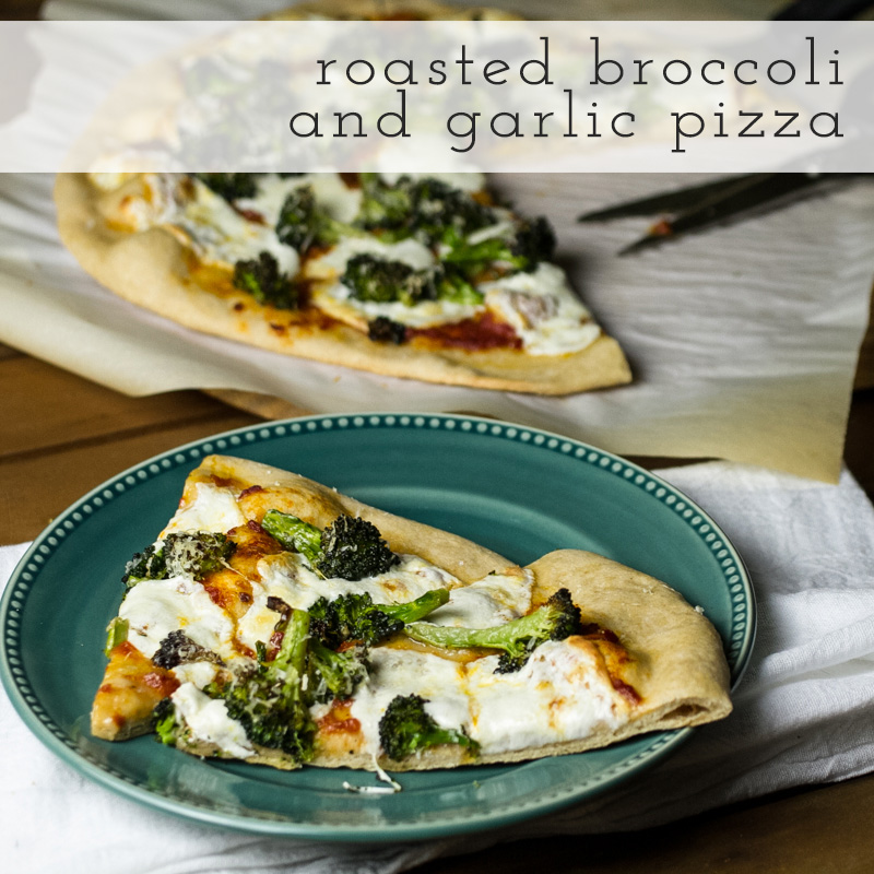 roasted broccoli pizza with text