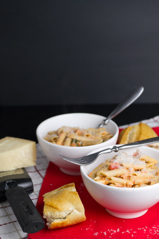 Penne alla vodka is a perfect combination of tomato sauce, rich cream, and vodka, which just enhances all of the flavors beautifully. Most of the alcohol cooks out, so you're fine to serve this to your family. They'll thank you for it! | pasta recipe from chattavore.com