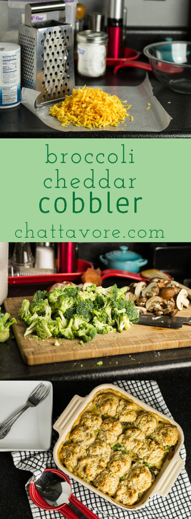Broccoli cheddar cobbler tops fresh broccoli and mushrooms with a cheesy, creamy sauce and soft Southern biscuits! | chattavore.com