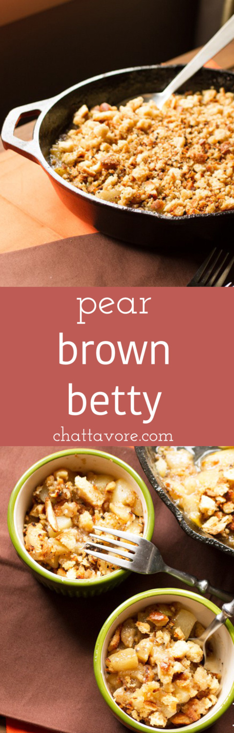 Pear brown betty is a wonderful fall dessert, full of cinnamon spicy goodness and topped with buttery browned bread crumbs. | recipe from Chattavore.com