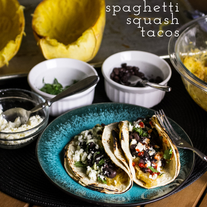 These spaghetti squash tacos with black beans are a simple, tasty, and filling vegetarian main dish option! They're sure to be a crowd-pleaser. | recipe from Chattavore.com