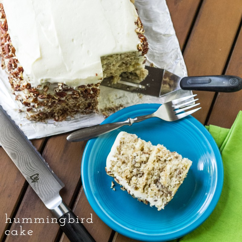 This classic hummingbird cake is a rich Southern favorite, with bananas, pineapple, pecans, cream cheese frosting, and coconut.   recipe from Chattavore.com