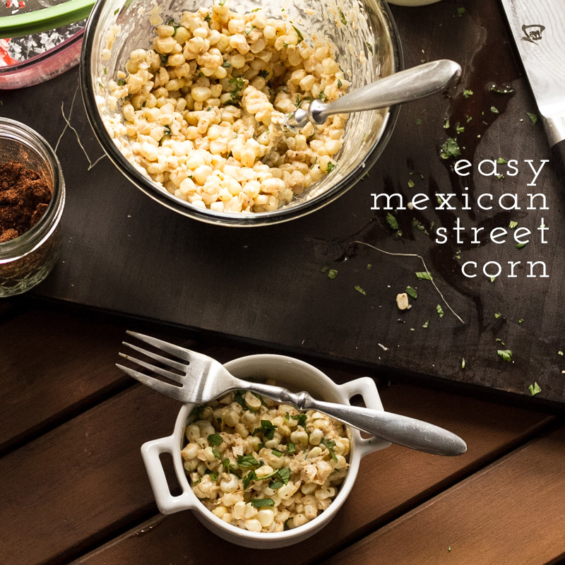 This easy Mexican street corn doesn't really resemble what you might eat on a vacation to Mexico, but it's delicious and so easy-made in the microwave! | recipe from Chattavore.com