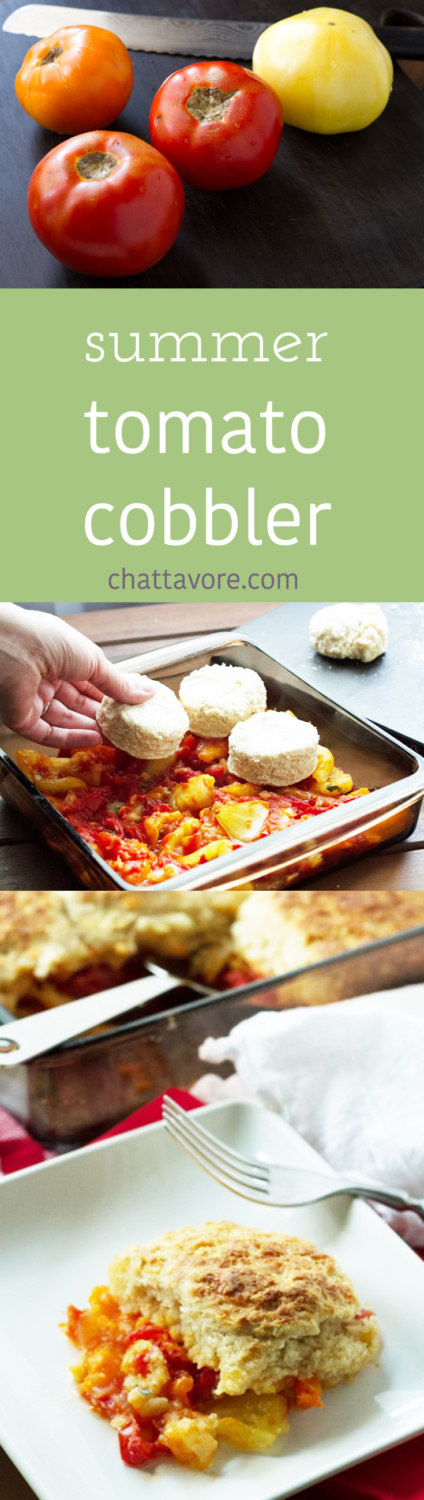 Tomato cobbler may sound strange, but there is nothing strange about fresh tomatoes cooked with onions and topped with garlic-cheddar biscuits. | recipe from Chattavore.com