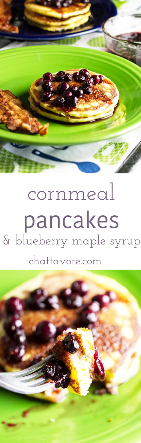 Cornmeal pancakes are homey and filling. Blueberry maple syrup is so much better than any flavored syrup at your local pancake house!   recipe from Chattavore.com
