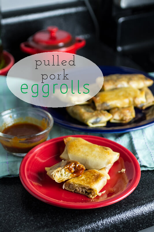 What better way to use up your leftover BBQ pork and coleslaw than to roll them in an egg roll wrapper and turn them into BBQ pulled pork egg rolls?   recipe from chattavore.com