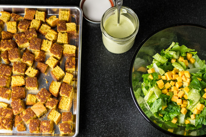 This cornbread panzanella is a lightened-up version of cornbread salad that can be served as a main dish or a side!   chattavore.com