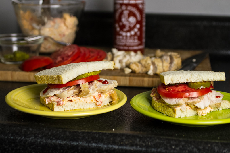 "This chicken & pimento cheese sandwich is affectionately named ""The Minnie Pearl"" (Southern lady with a kick) 