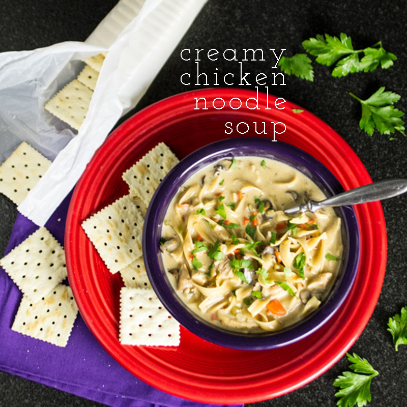 Creamy chicken noodle soup is a perfect way to warm up on a cold day. Plus...you can use your leftover turkey instead of chicken if you want! | chattavore.com
