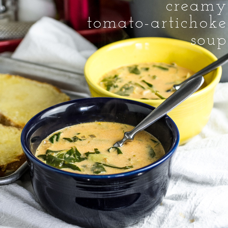 Creamy tomato soup with artichokes is rich and delicious with a healthy dose of spinach...oh, and cream...and sherry. | recipe from chattavore.com