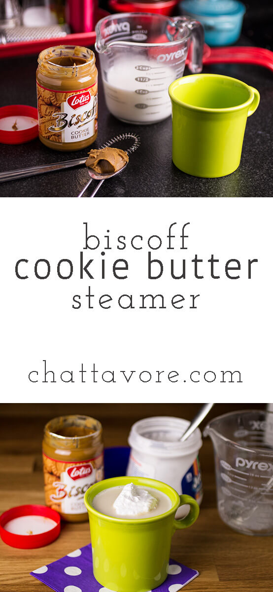 Biscoff Cookie Butter is one of my favorite products when I'm craving sweets, and this Biscoff Cookie Butter steamer is a delicious drink to warm up on a cold evening!   recipe from chattavore.com