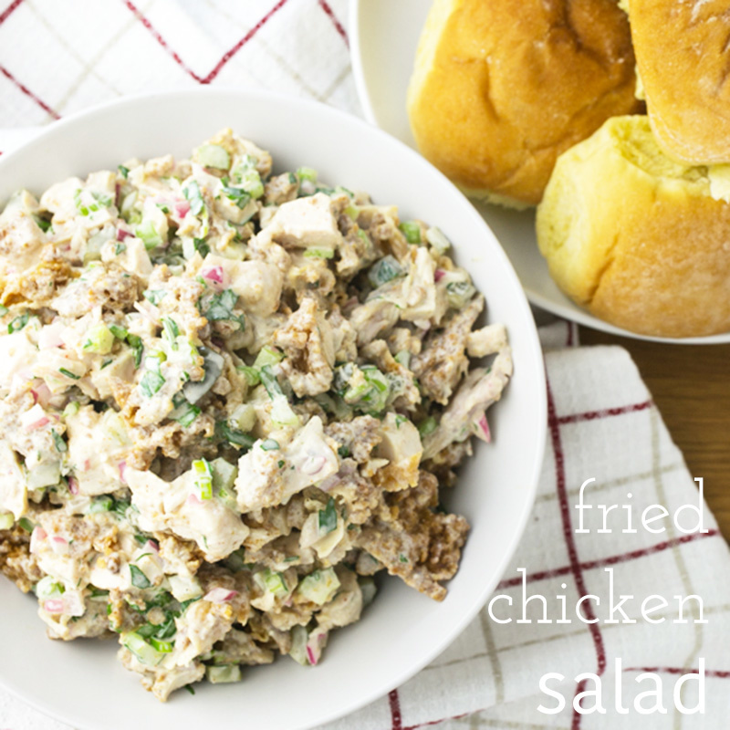 Fried chicken salad is a perfect way to use up leftover fried chicken. It's chicken salad, NOT salad with fried chicken on it, and it's surprisingly tasty! | recipe from Chattavore.com
